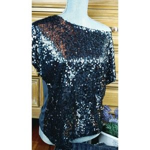 New Jennifer Lopez Silver Smokey Sequin Top S